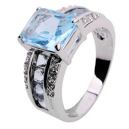 2017 bague en or aquamarine Bijoux Luxe Aquamarine saphir dame de 10KT or blanc rempli Ring pour cadeau Size8 / 9/10 1pc Freeshipping bague en or aquamarine sur la vente