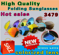 Wholesale High Quality Folding Sunglasses unisex Sunglasses colorized lens glasses Mens Sun glasses Womens Mirror Folding Sunglasses glass Lens