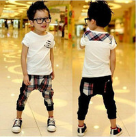 Boy Spring / Autumn Short 2013 Summer England Style Pure cotton Children Clothes Kids Set White t shirt+cell Harem pants 2pcs boys suit 1set Retail