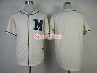Wholesale Blank Baseball Jerseys Brewers Authentic Turn Back The Clock Jersey High Quality Throwback Baseball Jerseys Milwaukee Team Sports Shirt