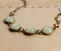 antique indian brass - Green Tone White Polka Dot Bracelets Antique Gem Chain Bracelets Bronze Star sl004