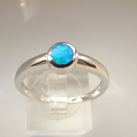 Wholesale Classic blue fire opal silver ring opal jewelry rings for women DRRD0984R G