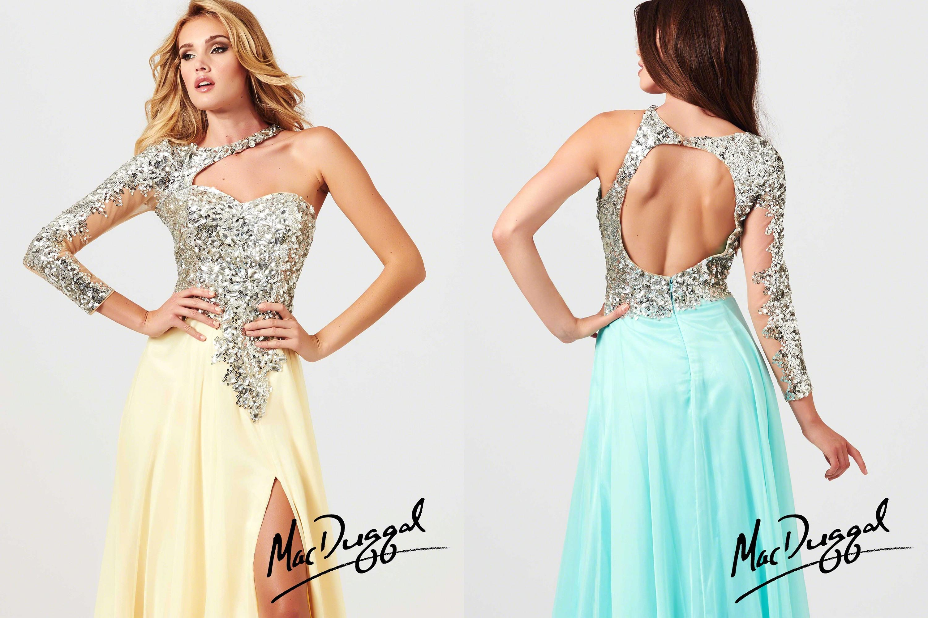 2014 Dazzling Long Sleeve Prom Dresses Jewel Neck Sequin ...