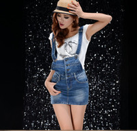 Wholesale Real film summer and autumn women s fashion magazine cute denim strap dress skirt women dress tide