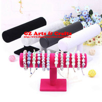 Wholesale Single Velvet Bracelet Holder Black T Bar PU Leather Watch Holder Jewelry Display Stand