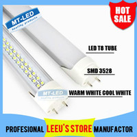 T8 18w SMD 3528 FEDEX FREE SHIPPPING LED T8 Tube 18W 1800LM SMD 3528 288 LEDS Light Lamp Bulb 4 feet 1.2m 110-240V led lighting tubes fluorescent 2 year