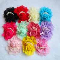 Wholesale hot diy chiffon roses pearl bow with flower flat backchildren nylon headband baby hairwear freeshipping