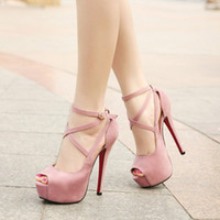Wholesale Sexy Elegant Ladies Fashion High Heels Sandals Wedge Shoe Pink Blue Black Cross Bandage Front Red Bottom Open toe Party Dating Office Summer