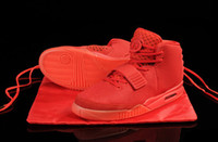 Wholesale New Kanye West Air Yeeze Red October Fluorescent posted free men sport shoes designer light in the dark sport shoes