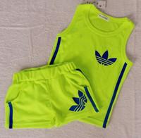 Unisex Summer Sleeveless sleeveless vest + shorts summer new 2014 girls Boys clothing set sport outfits kids clothes sets 5set lot