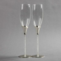 Wholesale 2014 new design Shiny silver plated champagne glass with zircon champagne flute for weddings or party