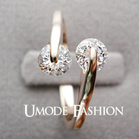 Band Rings Middle Eastern Women's 18K Rose Gold Plated Fashion Design Twin Zircon CZ Diamond Engagement Rings for Woman (Umode JR0013A)