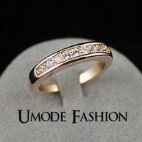 Wholesale 50 OFF K Rose Gold Plated TOP Class Rhinestones Studded Eternity Wedding Ring Umode JR0001A