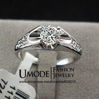 Wholesale Fashion White Gold Plated Mounting ct CZ Diamond Wedding Jewelry Rings Umode JR0064B