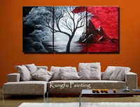al por mayor lona estirada-Marco de estirado listo para colgar, 100% arte de la pared del aceite pintado a mano Las pinturas al óleo abstractas rojo pasión en la lona 3pcs / set Decoración del hogar # 001