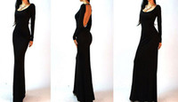 Wholesale Black Spring Fashion Long Sleeve Sexy Backless Empire Women Floor length Prom Long Maxi Dress Bodycon Dress Party Dress S M L XL
