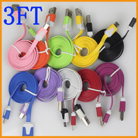 Cheap Micro usb Charger Cable Flat Noodle 1m 3ft Colorful Charging Data Sync Cords for Samsung Galaxy S3 S4 S5 I9600 Note 2 3 Blackberry HTC Noki