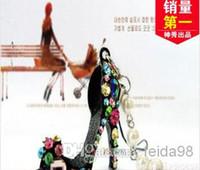 Wholesale Fashion creative Crystal Diamond sparkle High heels shoe phone chain Keychain Jewelry color