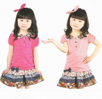 Wholesale New Arrival Hot Children s set kids Dots lace lapels short sleeved T shirt Bowknot floral skirt suit