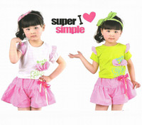 Wholesale New Arrival Hot Children s Outfits Summer Fashion kids Bowknot fly sleeve T shirt striped culottes sets