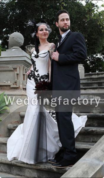 Unique góticos vestidos de novia de la sirena del amor blanco y negro apliques de encaje