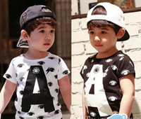 Wholesale Hot Sale New Children Clothing Korean pure cotton Boys letter eye T Shirt Kids pure cotton short sleeve T Shirts