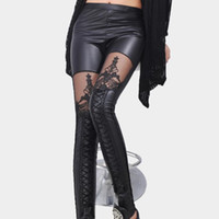 Leggings Skinny,Slim Women Hot sale Fashion Spring Autumn Fashion Punk Black faux leather lace up Legging gothic women bandage Rockers leggings