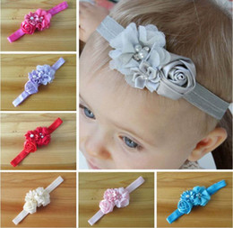 Wholesale Baby Girl Rose Flower Chiffon Rhinestone Hair Accessories Newborn Headbands