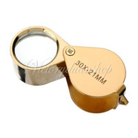 Wholesale x mm Package Box Gold Color Folding Glass Lens Jeweler Jewelry Coin Loupe Eye Magnifier Magnifying dandys