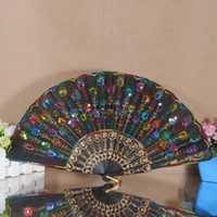Wholesale Colorful Ladys Embroidered Spanish Hand Lace Fan With Sequin Wedding Dancing Home Party Decoration dandys