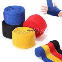 Wholesale 2pcs M X5cm Professional Solid Sport Fighting Boxing Training Hand Wraps Breathable Gloves Bandages Cotton Belt Strap dandys