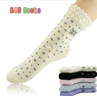 Wholesale Female Cotton Socks Snowflake Print Harajuku Style Designer Socks Autumn summer Socks pair