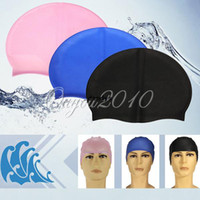 adult swim - Solid Color Silicone Swimming Cap Durable Sporty Soft Adults Dome Swim Cap Hat Protect Waterproof Watertight dandys