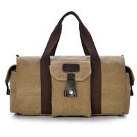 Wholesale Vintage Man Bag Canvas Travel Shoulder Bags Tote Large Capacity Solid Luggage men travel bags