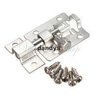 steel sliding gate - 10pcs mm Stainless Steel Door Bolt Latch Hasp Stapler Gate Bathroom Sliding Lock Safety Security With Screws dandys