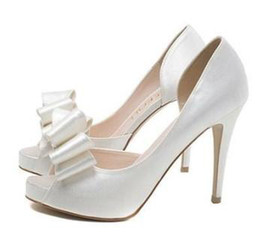 chic white satin pumps sexy stiletto heel peep toe wedding bride dress shoes with bow beautiful shoes ePacket free shippinge