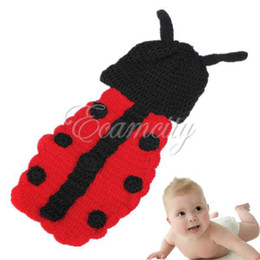 Wholesale New Cute Lovely Baby Infant Ladybug Crochet Costume Photo Photography Studio Prop Clothes Hat Cap dandys