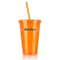 ECO Friendly plastic cup with lid - Orange Smoothie Cola Iced Coffee Juice Plastic Drinks Cup With Straw Party Liquid Beaker Lid For Beverage dandys