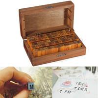 Wholesale 70pcs set Vintage DIY Multi purpose Regular Script Number Lowercase Alphabet Letter Decoration Wood Rubber Stamp Set Wooden Box