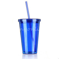 Wholesale Blue Smoothie Iced Coffee Juice Plastic Drinks Cup With Straw Party Liquid Beaker Lid For Beverage dandys