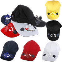 Wholesale Multi color Summer Outdoor Sport Polyester Cotton Hat Cap with Solar Sun Power Cool Fan For Golf Baseball Camping dandys