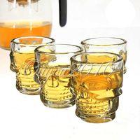 Glass beer glass set - 4pcs set Mini Crystal Skull Head Shot Bone Vodka Whiskey Beer Stein Glass Drink Bottle Cup Home Bar Party Barware dandys