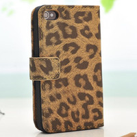 For Apple iPhone Leather Yes 2014 New Coming Original Brand New Skins & Cases For Iphone 4 4S 4G!High Class Leopard Skin Print Slim Folio Leather Cover Cases