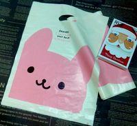 Wholesale Cartoon Pink bunny Plastic Gift bag Jewerly merchandise bag birthday loot bag13 cm
