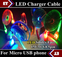 Wholesale DHL X Colorful LED Visible Micro USB V8 Charger Cable for Samsung Galaxy S3 S4 Note Data Smile Light Up Flash Flowing M Cords JB5