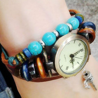 Unisex Auto Date Round Free shipping New Arrivals Retro Little walking stick Watch ,GENUINE Leather Cow Leather Wristwatches with turquoise