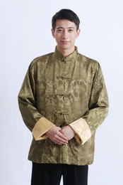 Shanghai Story Long Sleeve shirt Chinese Traditional ethnic clothing Green Yellow Two-sides wear tang suit mandarin collar jacket M1041