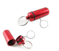 Wholesale EMS mm Mini Aluminum Waterproof Pills Box Case Bottle Holder Container Keychain Keyring K07750