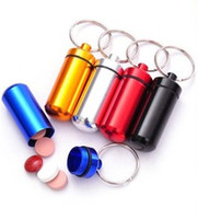 waterproof container - DHL mm Mini Aluminum Waterproof Pills Box Case Bottle Holder Container Keychain Keyring In stock