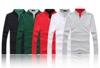 Men Cotton Polo Top quality free shipping men's long sleeve polo shirt 100% cotton t-shirt (embroidery brand logo) 5 colours ,M,L,XL,XXL XXXL